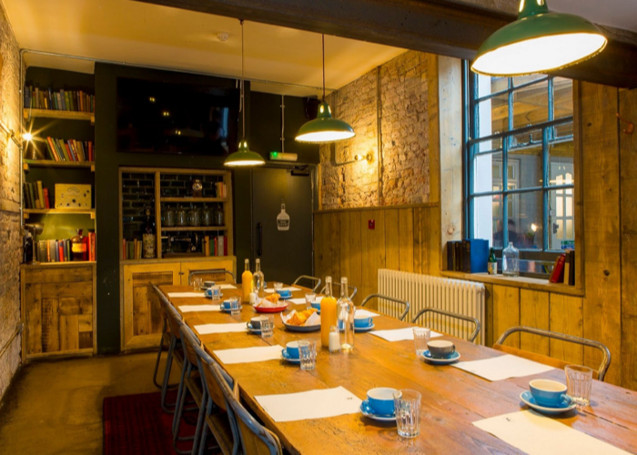 The conference table is ready for a meeting in the Bottle of Sauce Meeting Room at The Wheelhouse Cheltenham